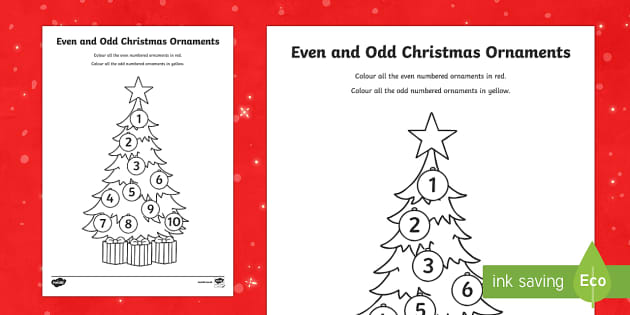 Even and Odd Numbers Christmas Ornaments Colouring Activity