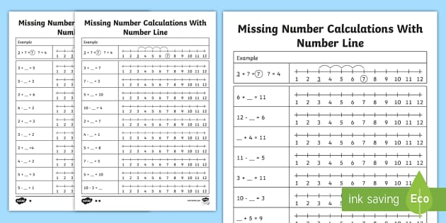 Missing Number Calculations with a Number Line Activity Sheet, worksheet