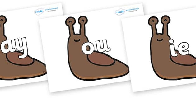 Phase 5 Phonemes on Slugs - Phonemes, phoneme, Phase 5, Phase five, Foundation, Literacy, Letters and Sounds, DfES, display