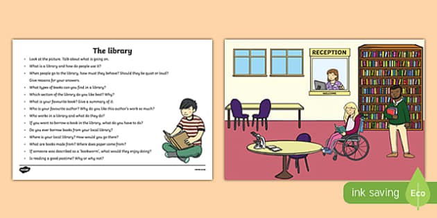 The Library Oral Language Activity Sheet-Irish, worksheet