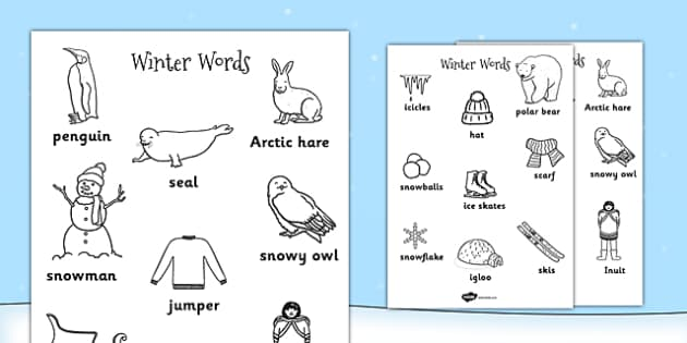 Winter Words Colouring Sheets - winter, colouring, keywords, word
