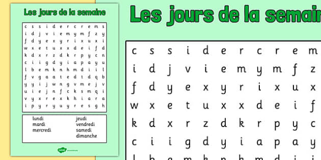 Les jours de la semaine Word Search French - french, days, week, days of the week, wordsearch, word search