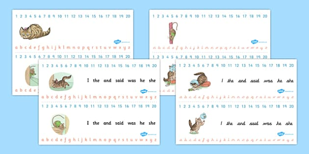 The Story of Miss Moppet Combined Number and Alphabet Strips - miss moppet, alphabet, number, strips, beatrix potter