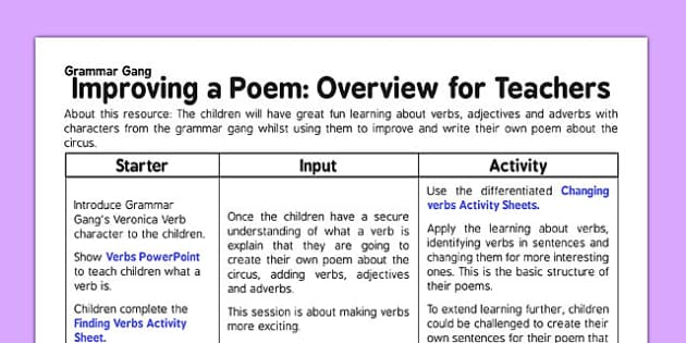 Grammar Gang Improving a Poem Overview for Teachers - grammar gang, poem