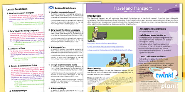 PlanIt - History KS1 - Travel and Transport Planning Overview CfE - Curriculum for excellence, Scottish, history, KS1, key stage 1, topic, planning, unit, travelling, technology,