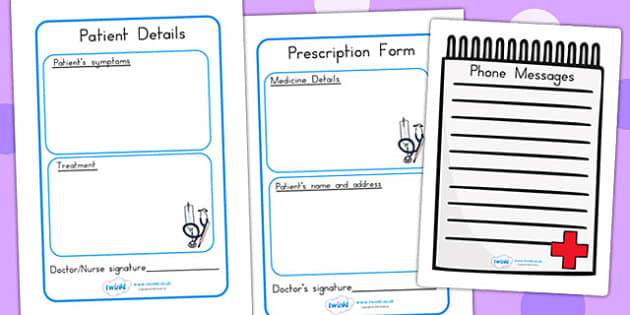 Hospital Forms - hospital role play, roleplay, props, doctors