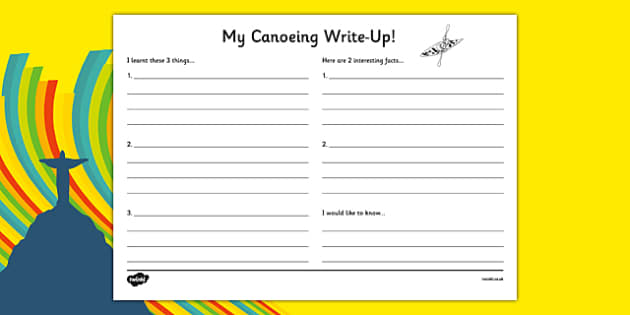 Rio 2016 Olympics Canoeing Write Up Worksheet - rio 2016, rio olympics, 2016 olympics, canoeing, write up, worksheet