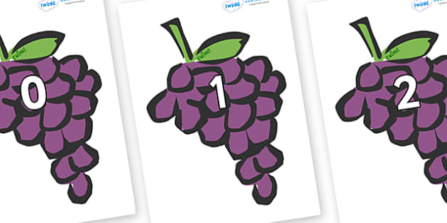 Numbers 0-31 on Grapes - 0-31, foundation stage numeracy, Number recognition, Number flashcards, counting, number frieze, Display numbers, number posters