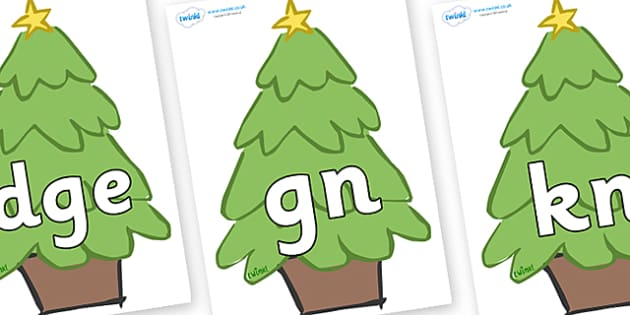 Silent Letters on Christmas Trees (Plain) - Silent Letters, silent letter, letter blend, consonant, consonants, digraph, trigraph, A-Z letters, literacy, alphabet, letters, alternative sounds