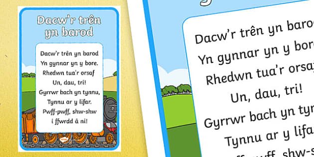 There's the train already Welsh Second Language Song Lyrics - Welsh