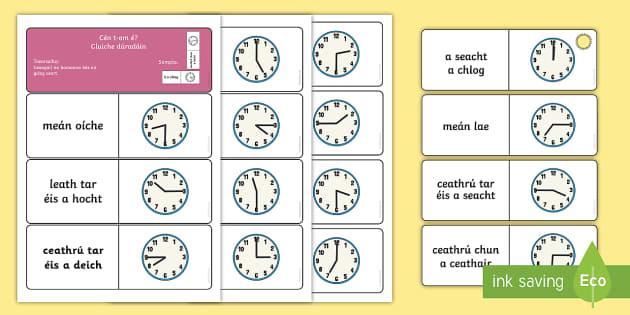 Telling the Time Dominoes Gaeilge - The Time - Gaeilge & Ulster Gaeilge translations, Dominoes, An t-am, Dúradáin, Dúradán, Am, clui
