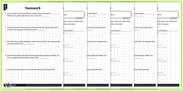 Using Short Division to Solve Problems Activity Sheets - Y4 Multiplication and Division Planit Maths, multiply, groups of, lots of, product, times, sets of,
