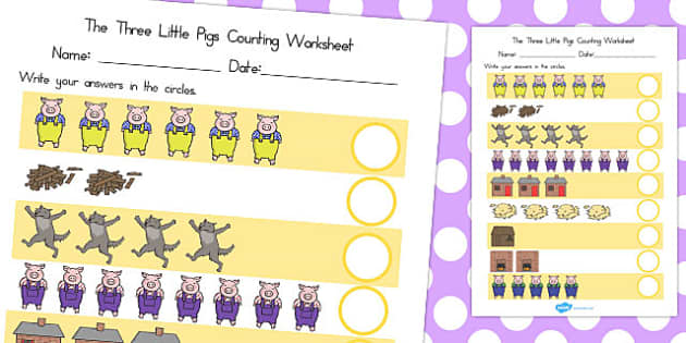 The Three Little Pigs Counting Sheet - australia, counting, sheet