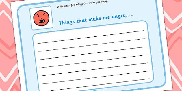 5 Things That Make Me Angry Writing Frame - angry, sen, write