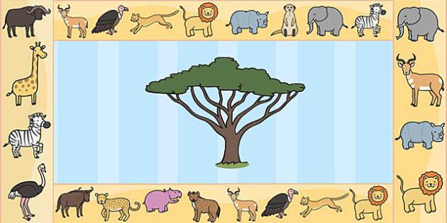 Safari Display Borders - Safari, Display border, border, display, A4, lion, cheetah, puma, jaguar, rhino, hippo, elephant, giraffe, antelope