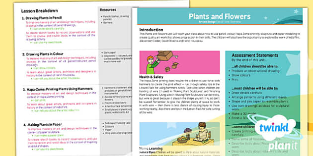 PlanIt - Art UKS2 - Plants and Flowers Planning Overview - art, lesson, plan