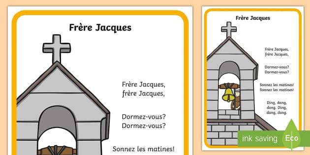 CfE Frère Jacques Nursery Rhyme A4 Display Poster French - French songs, nursery rhymes, french nursery rhymes, french tunes, french lyrics, frere jacques.,Sco