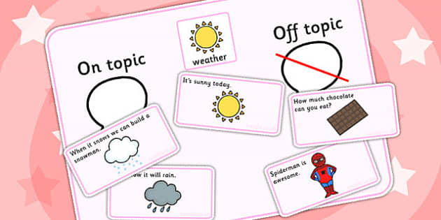 On Topic Off Topic Conversation Sorting Game Weather - ordering