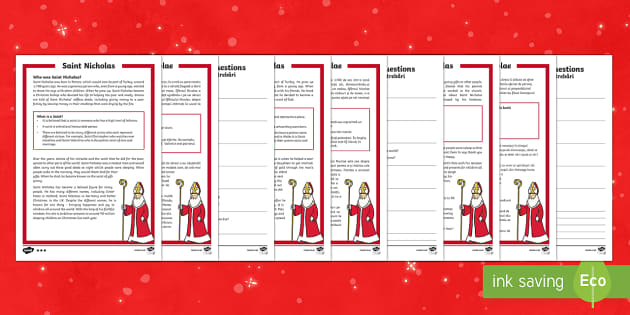 KS1 Saint Nicholas Differentiated Reading Comprehension Activity English/Romanian - Christmas, Xmas, Father Christmas, Santa, Turkey, Saint, Saint Nicholas, gifts, giving, presents, ki