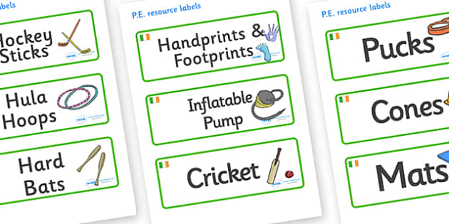 Ireland Themed Editable PE Resource Labels - Themed PE label, PE equipment, PE, physical education, PE cupboard, PE, physical development, quoits, cones, bats, balls, Resource Label, Editable Labels, KS1 Labels, Foundation Labels, Foundation Stage La