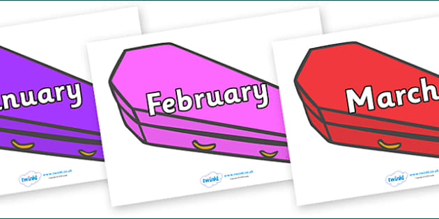 Months of the Year on Coffins (Multicolour) - Months of the Year, Months poster, Months display, display, poster, frieze, Months, month, January, February, March, April, May, June, July, August, September