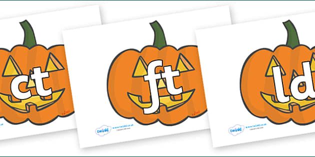 Final Letter Blends on Jack O'Lanterns - Final Letters, final letter, letter blend, letter blends, consonant, consonants, digraph, trigraph, literacy, alphabet, letters, foundation stage literacy