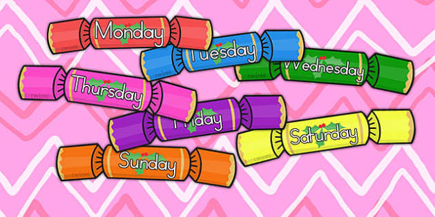 Australia Days of the Week on Crackers - days, weeks, christmas, crackers