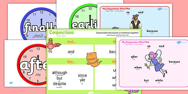 Conjunctions Pack Arabic Translation - arabic, Connectives, Pack