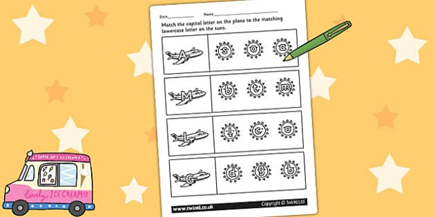 Summer Themed Capital Letter Matching Worksheet - uppercase