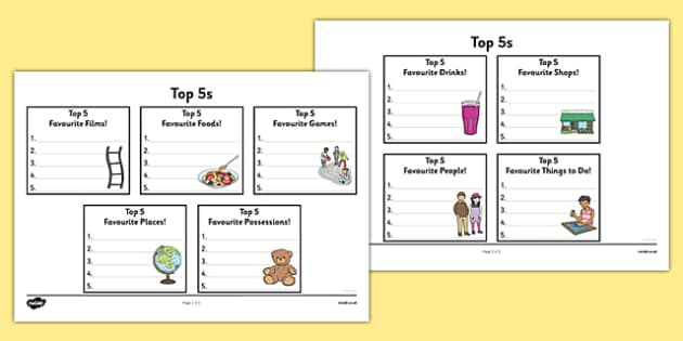 Top 5s Ranking Favourites Activity Sheet - Ranking, favourites, new class, getting to know you, preferences, worksheet