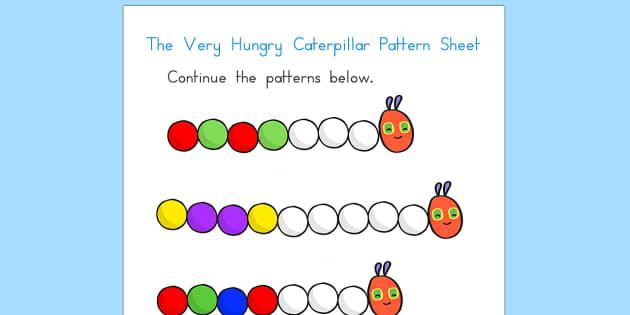 Pattern Sheet to Support Teaching on The Very Hungry Caterpillar - patterns, art, design