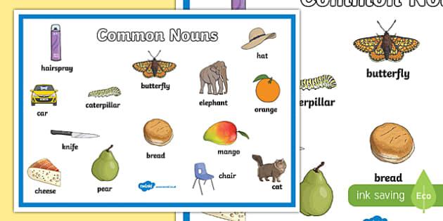Common Nouns Display Poster - common nouns, common nouns mat, common nouns poster, common noun examples, nouns, types of nouns, ks2 literacy, nouns poster