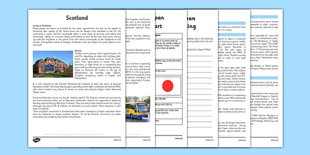Scotland and Japan Comparison Resource Pack - CfE, social studies, lifestyle comparison, Japan, Scotland