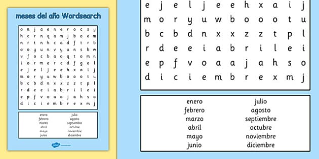 Meses del año Wordsearch Spanish - spanish, months, year, wordsearch