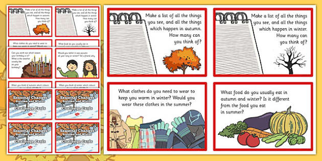 Seasonal Changes Autumn and Winter Challenge Cards - autumn and winter challenges, seasonal, season, changes