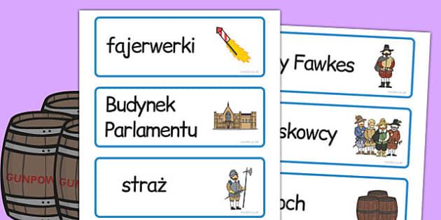 Karty ze slownictwem Spisek prochowy po polsku - do pobrania, Polish