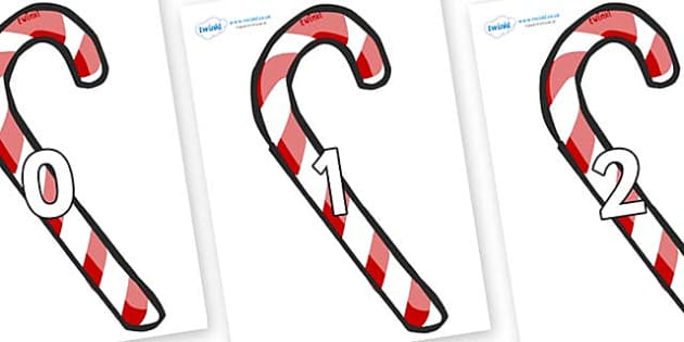 Numbers 0-31 on Candy Canes (Plain) - 0-31, foundation stage numeracy, Number recognition, Number flashcards, counting, number frieze, Display numbers, number posters