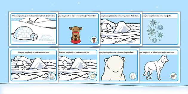 Polar Playdough Mats - Polar Playdough Mats, Polar Regions, polar region, region, polar, mat, activity, playdough, ice, North Pole, South Pole, Arctic, Antarctic, polar bear, penguin, glacier, iceberg, seal, husky, northern lights, igloo, Inuit, snow
