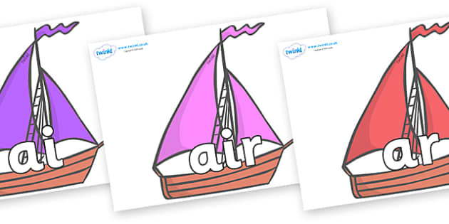 Phase 3 Phonemes on Sailing Boats to Support Teaching on Where the Wild Things Are - Phonemes, phoneme, Phase 3, Phase three, Foundation, Literacy, Letters and Sounds, DfES, display