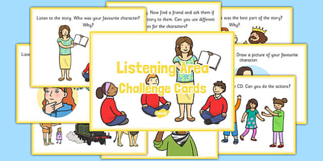 Listening Area Challenge Cards - EYFS, continuous provision, activity, activities