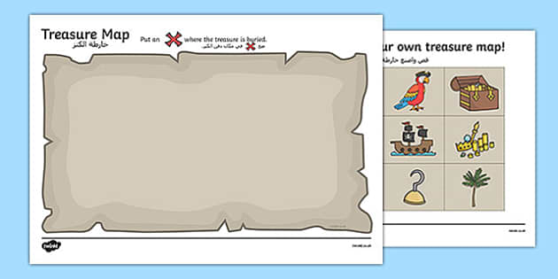Treasure Map Activity Arabic Translation - arabic, Worksheets, Pirate, Pirates, Topic, cutting, fine motor skills, activity, pirate, pirates, treasure, ship, jolly roger, ship, island, ocean