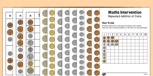 Maths Intervention Repeat Addition of Coins Grid - SEN, special needs, maths, money, counting money, recognising money, adding money, coins, notes