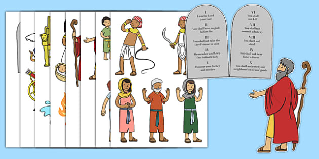 Moses Story Cut Outs - Moses, Egypt, Hebrews, slaves, Pharaoh, basket, God, palace, shepherd, cut outs, cutting, cut, burning bush, plague, Primised Land, law, stone, ten commandments, bible, bible story