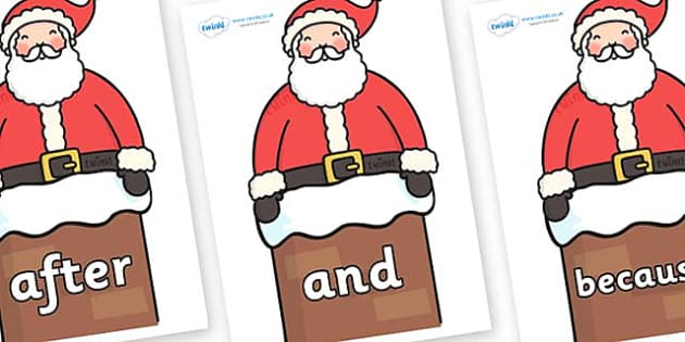 Connectives on Santa in Chimney - Connectives, VCOP, connective resources, connectives display words, connective displays