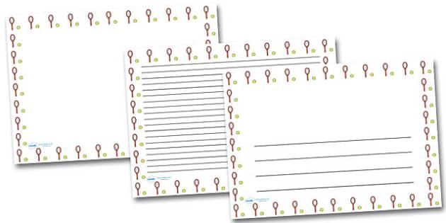 Tennis Landscape Page Borders- Landscape Page Borders - Page border, border, writing template, writing aid, writing frame, a4 border, template, templates, landscape
