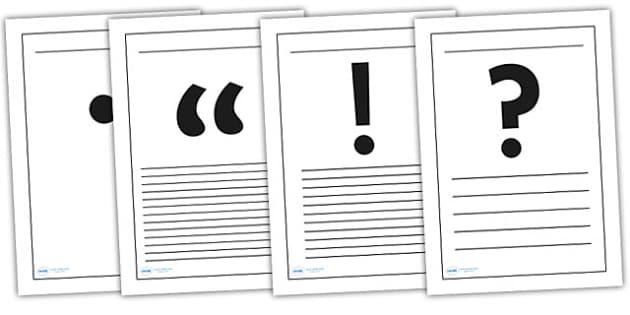 Punctuation Symbols Writing Frames - punctuation symbols, punctuation, writing frames, punctuation frames, punctuation writing frame, page border