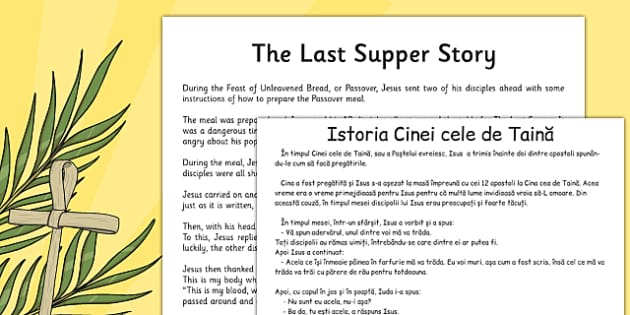 The Last Supper Story Sheet Romanian Translation - romanian, christianity, christian, religion