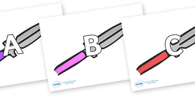A-Z Alphabet on Spears - A-Z, A4, display, Alphabet frieze, Display letters, Letter posters, A-Z letters, Alphabet flashcards