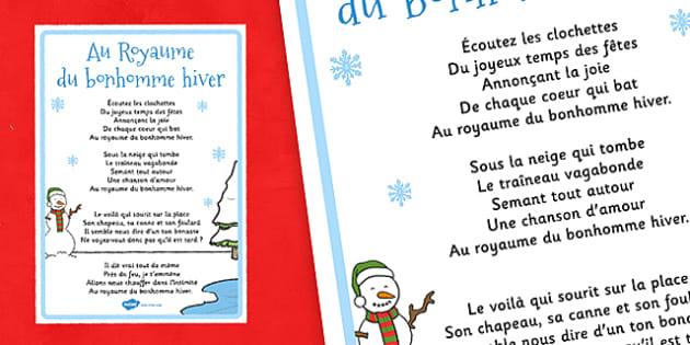 Au Royaume du bonhomme hiver French - french, Au Royaume du bonhomme hiver, lyrics, poster