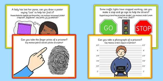Challenge Cards Police Station Polish Translation - polish, challenge cards, police station, police, station